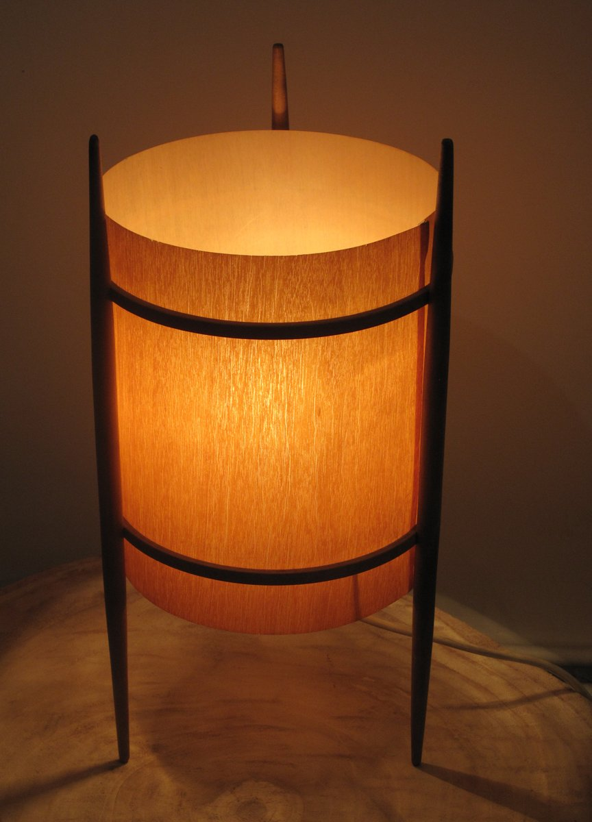 Wood Veneer Table Lamp With Three Legs 1960s For Sale At