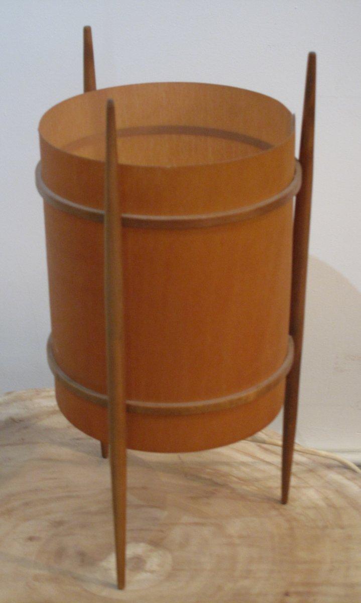 Lampada da tavolo tripode impiallacciata in legno anni for Lampada da tavolo design legno