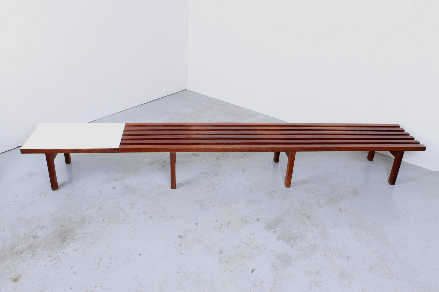 Slatted Coffee Table Mid Century Slatted Solid Teak Six Seater Lobby Bench For Sale At