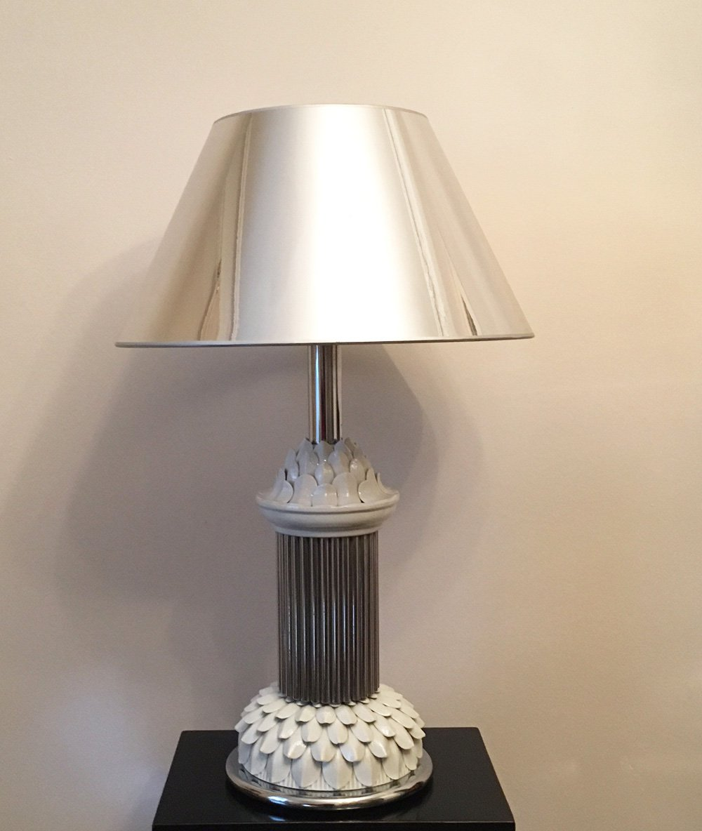 Mid century italian chrome ceramic table lamp for sale for Z gallerie century table lamp