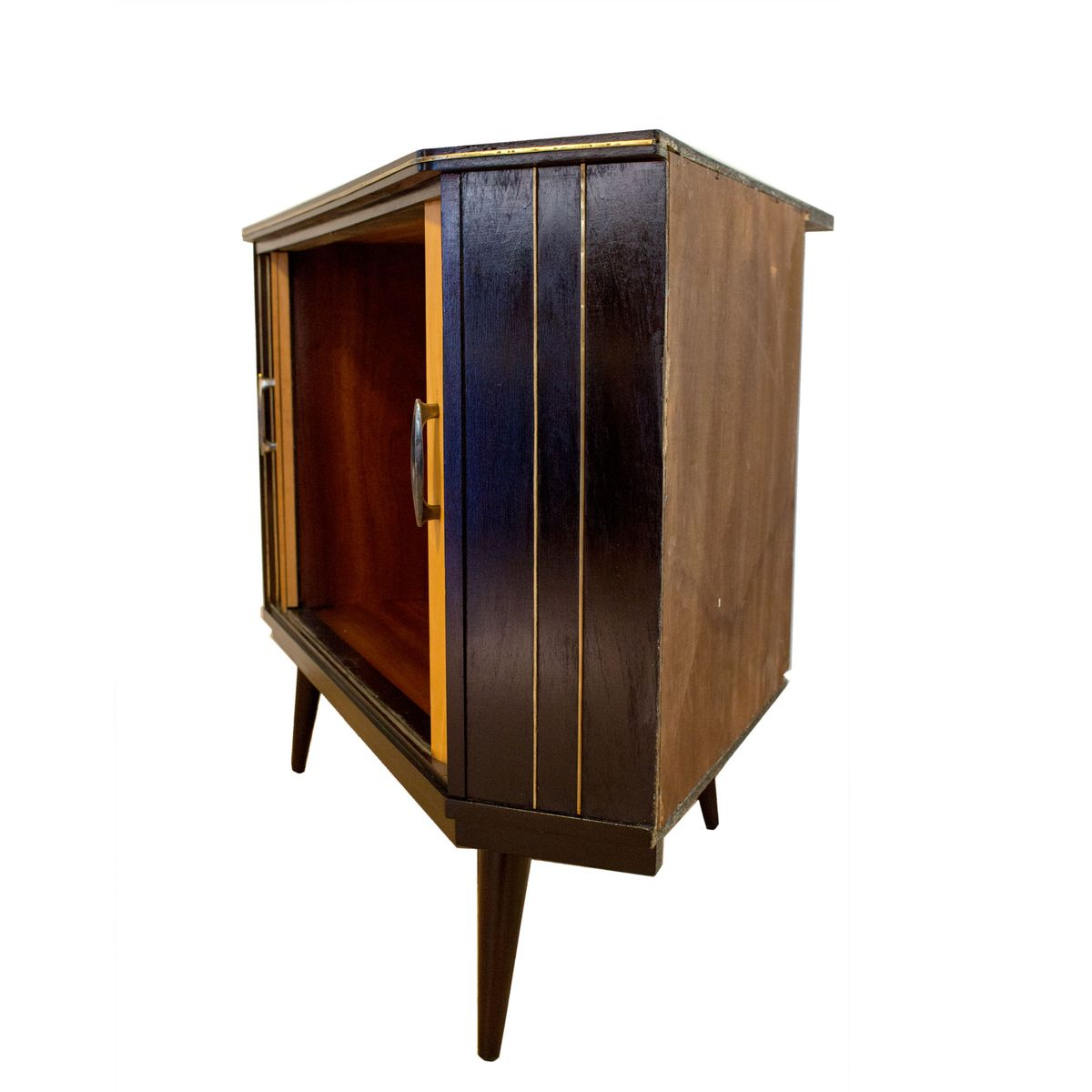 deutscher mid century eckschrank mit schiebet ren bei pamono kaufen. Black Bedroom Furniture Sets. Home Design Ideas
