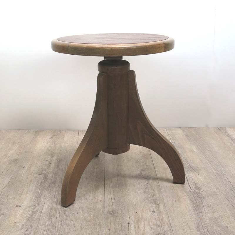 Antique Art Nouveau Wood And Leather Piano Stool For Sale