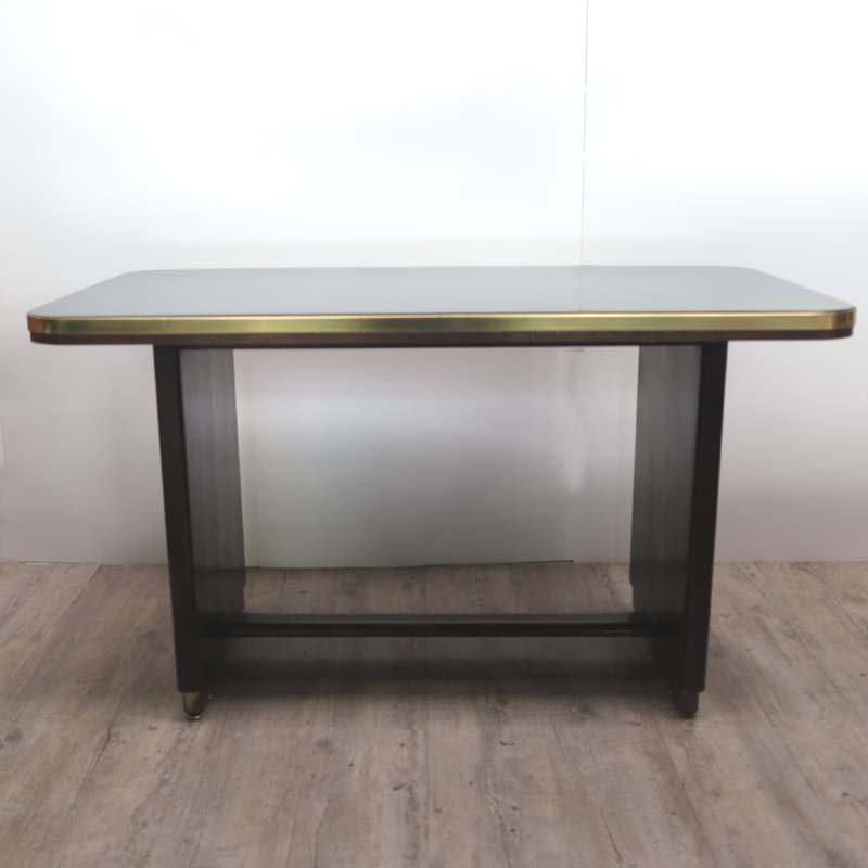 Vintage Wooden Table With Inlaid Black Glass Top, 1950s