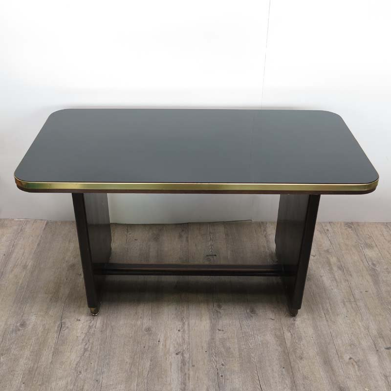 Vintage Wooden Table With Inlaid Black Glass Top 1950s