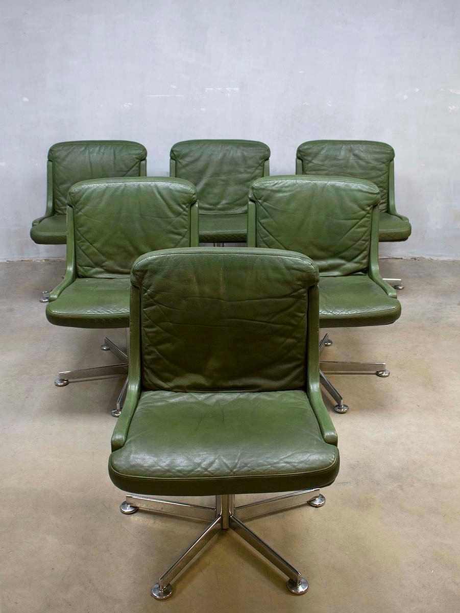 vintage office chair. vintage office chair with olive green leather 5 141600 price per piece