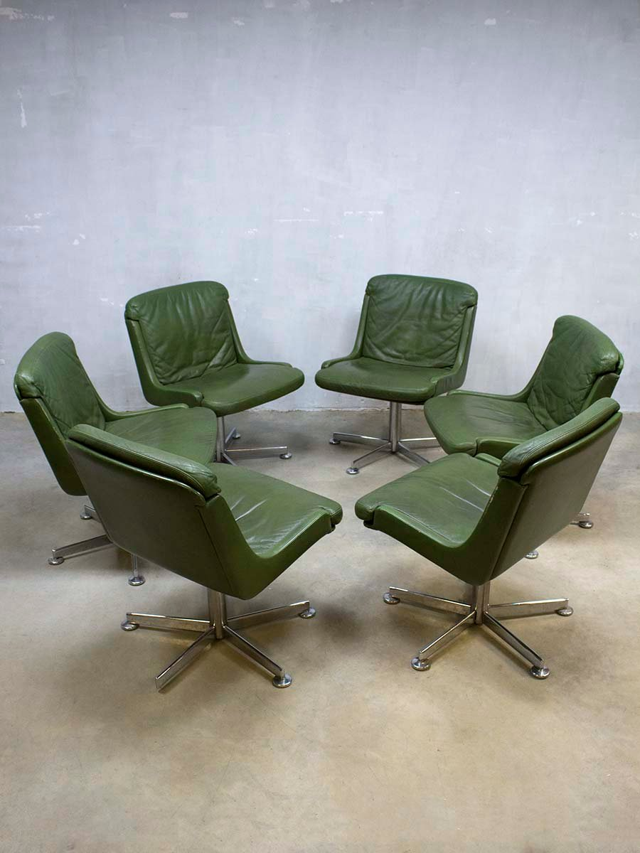 Vintage office chair with olive green leather for sale at for Norwegian vintage office chair