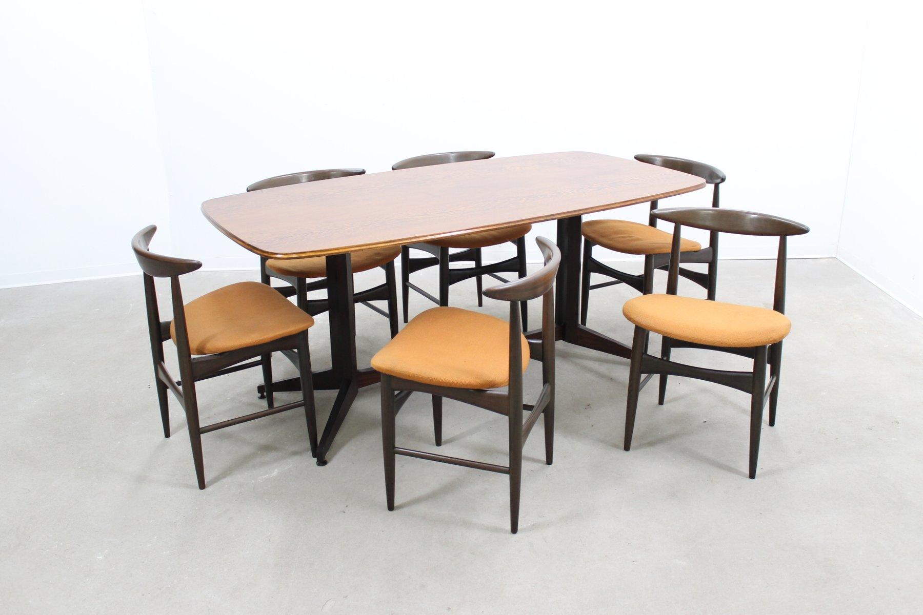 mid century esstisch st hle bei pamono kaufen. Black Bedroom Furniture Sets. Home Design Ideas