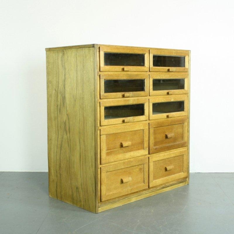 mid century eichenholz kurzwaren schrank mit 10 schubladen. Black Bedroom Furniture Sets. Home Design Ideas