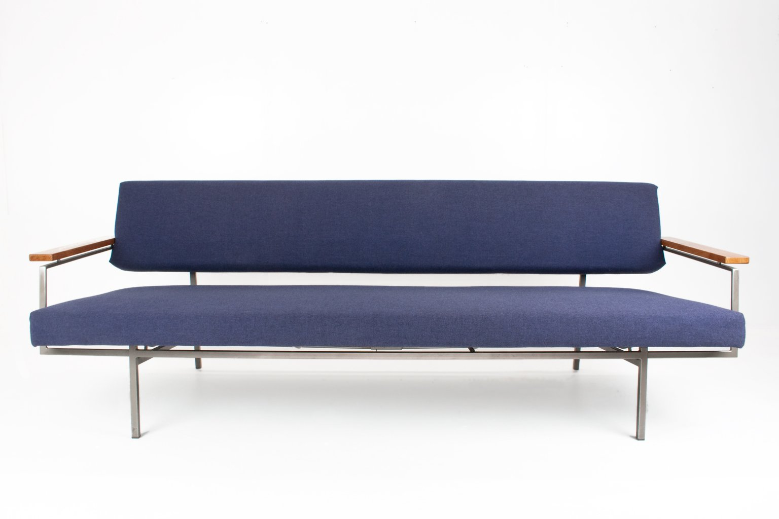 Sofa With Chromed Metal Frame By Rob Parry For Gelderland