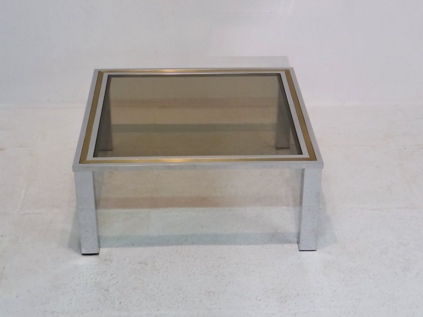 Vintage Coffee Table with Smoked Glass Top for sale at Pamono