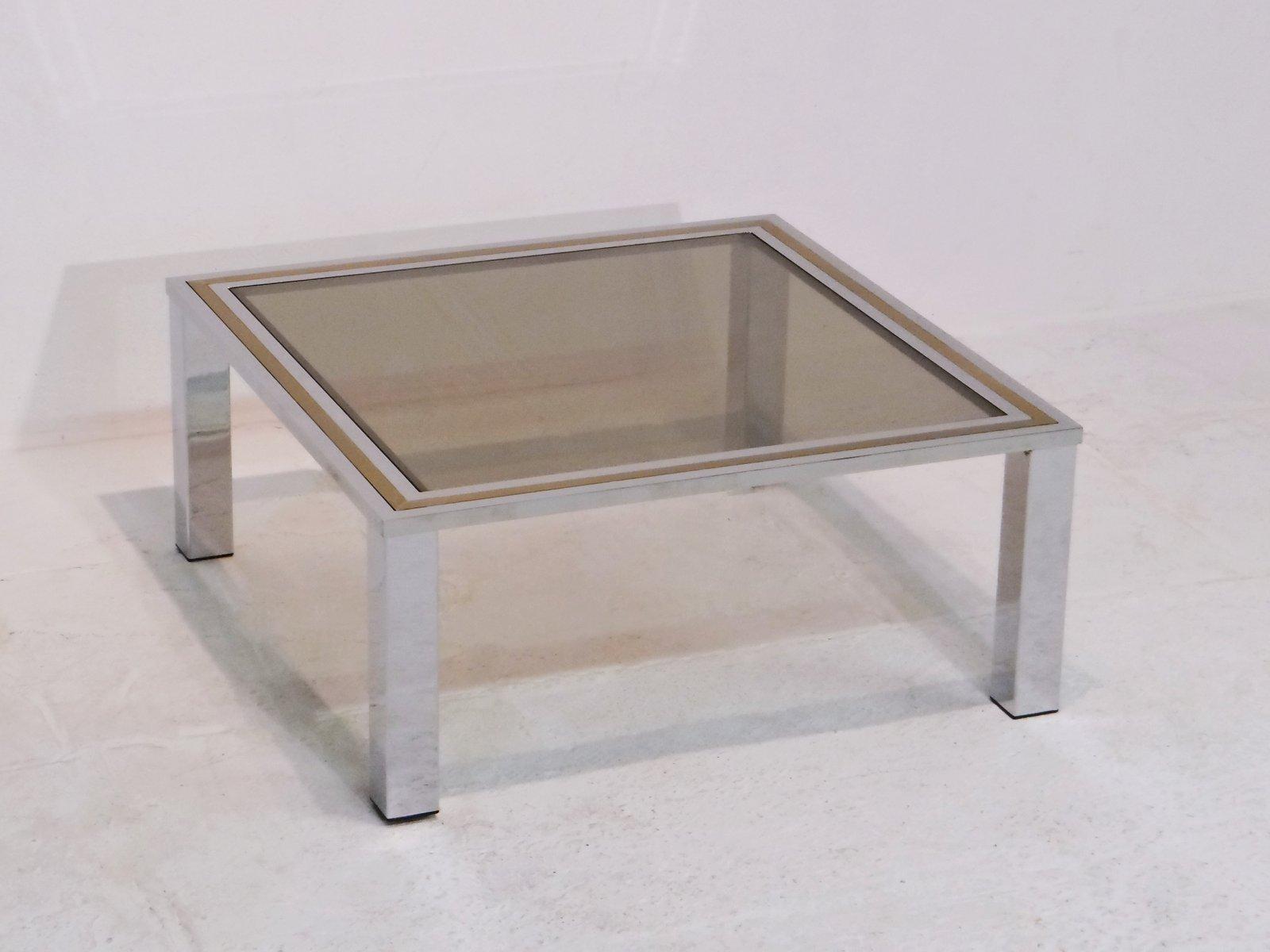table basse vintage avec dessus en verre fum en vente sur pamono. Black Bedroom Furniture Sets. Home Design Ideas