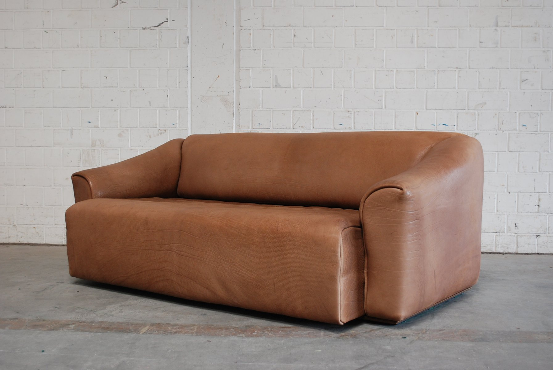 Vintage DS-47 Three-Seater Cognac Leather Sofa From De Sede