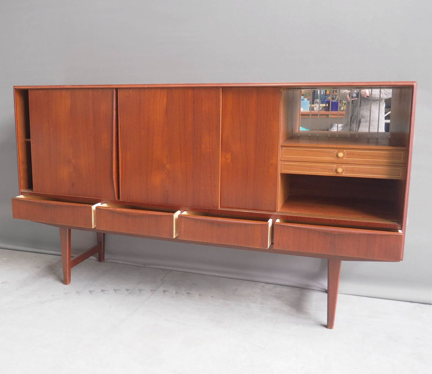 high teak sideboard by e w bach for sejling skabe 1960s for sale at pamono. Black Bedroom Furniture Sets. Home Design Ideas
