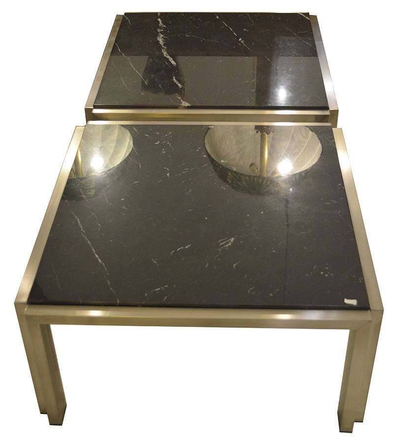 Carrara Black Marble Coffee Tables 1960s Set Of 2 For