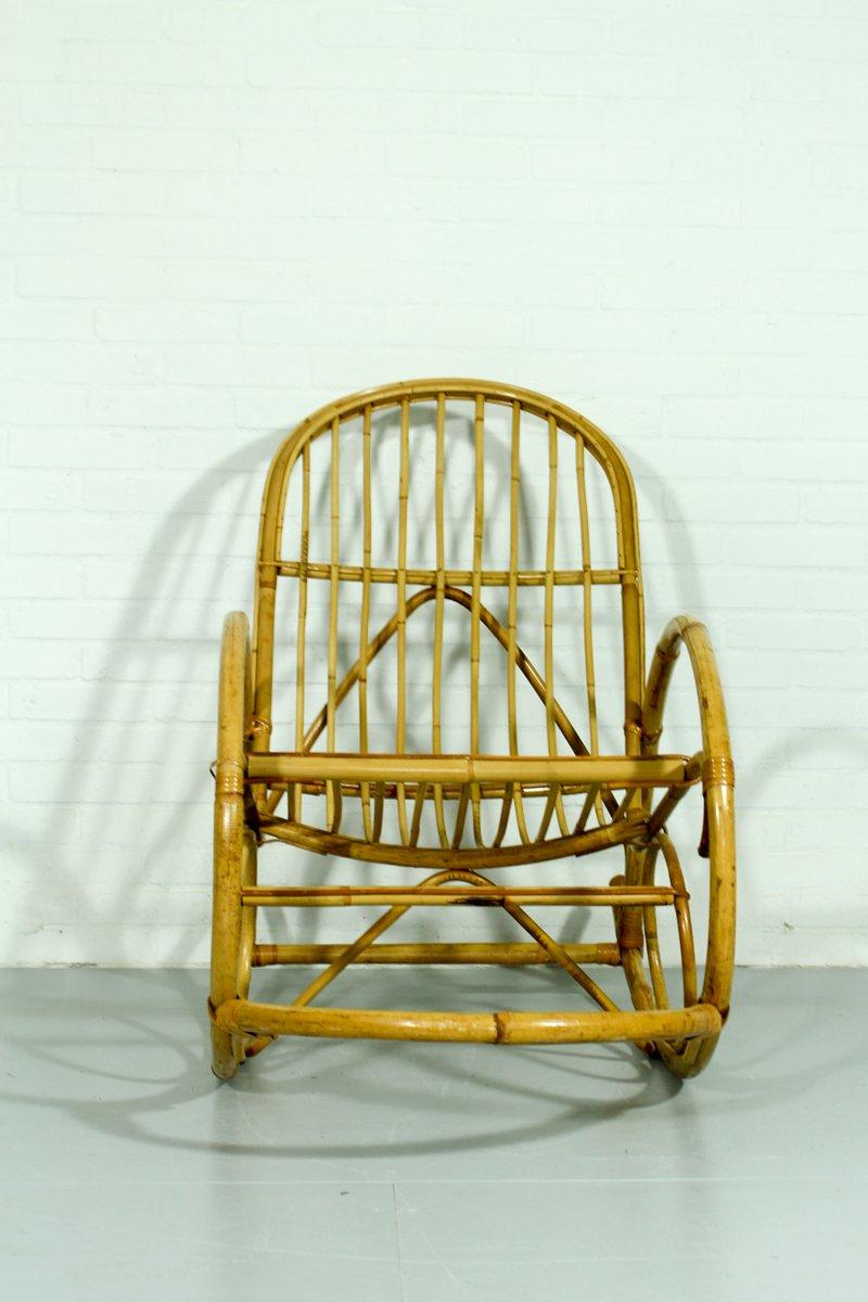 Sedie a dondolo e poggiapiedi in bamboo, Olanda, anni \'60 in ...