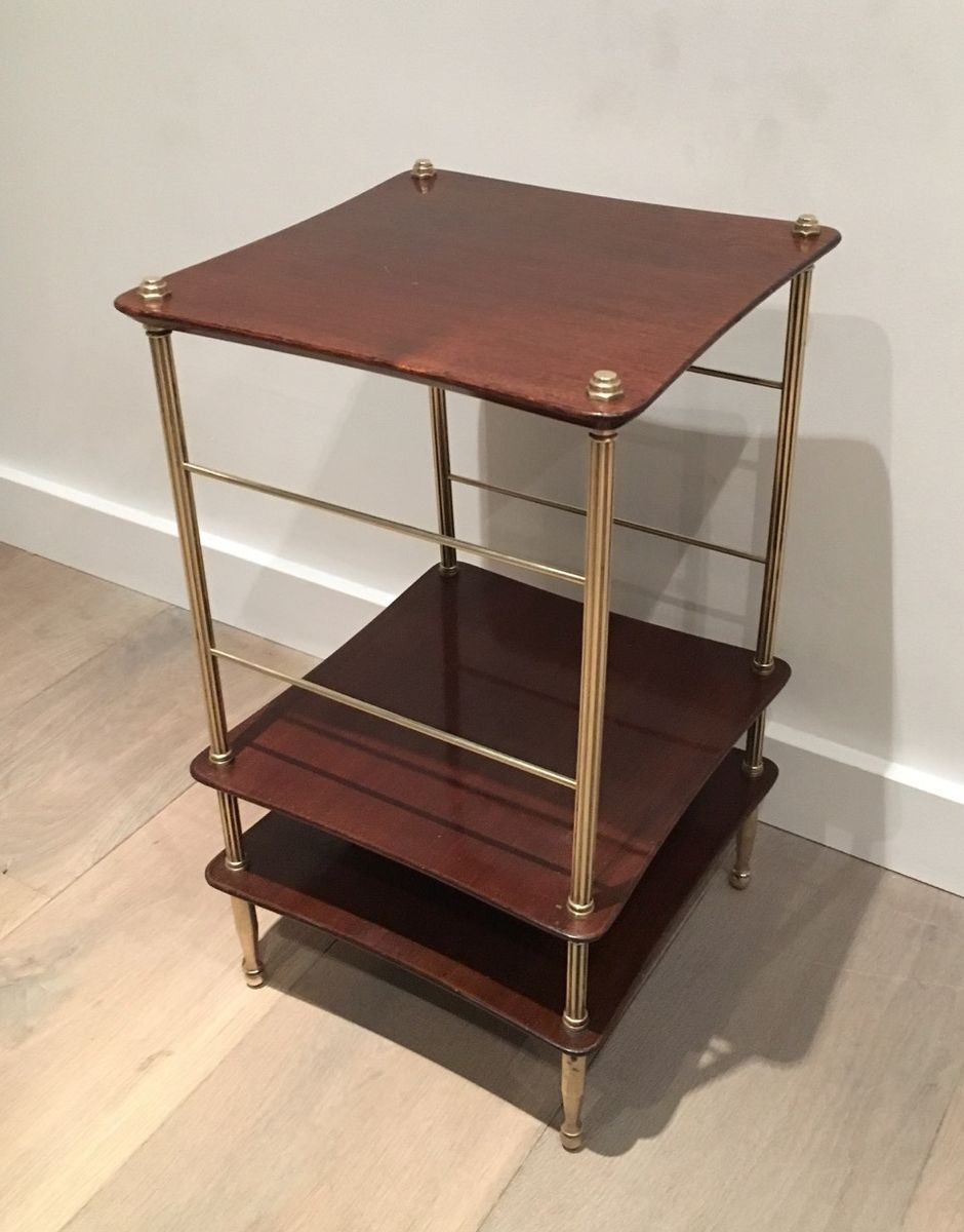 small coffee table in brass and wood, 1940s for sale at pamono