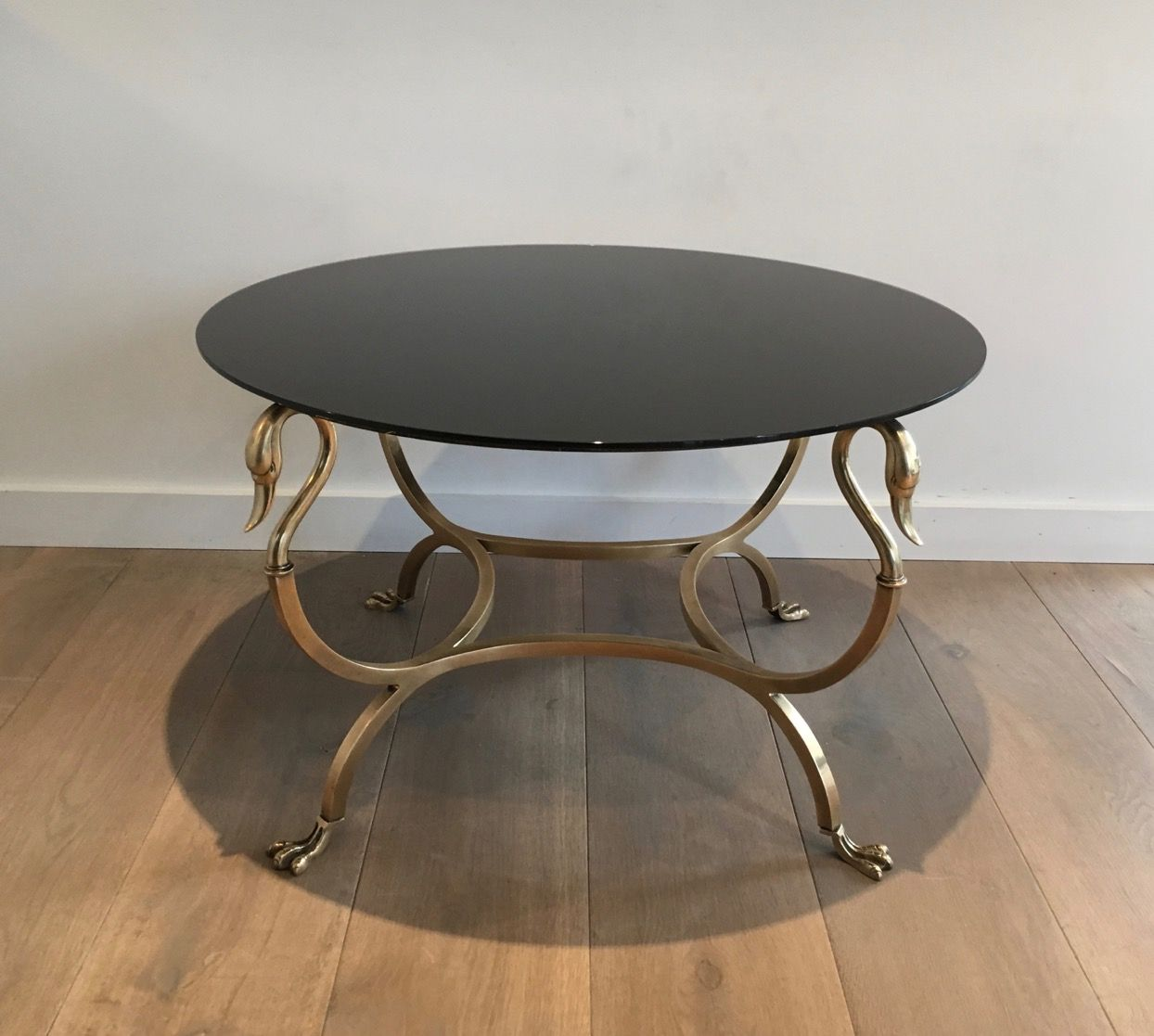 Vintage Round Coffee Table With Swan Details For Sale At Pamono