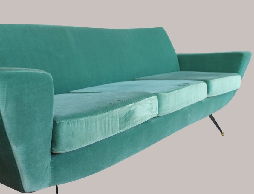 Velvet Sofa mid-century italian aquamarine velvet sofa, 1960s for sale at pamono