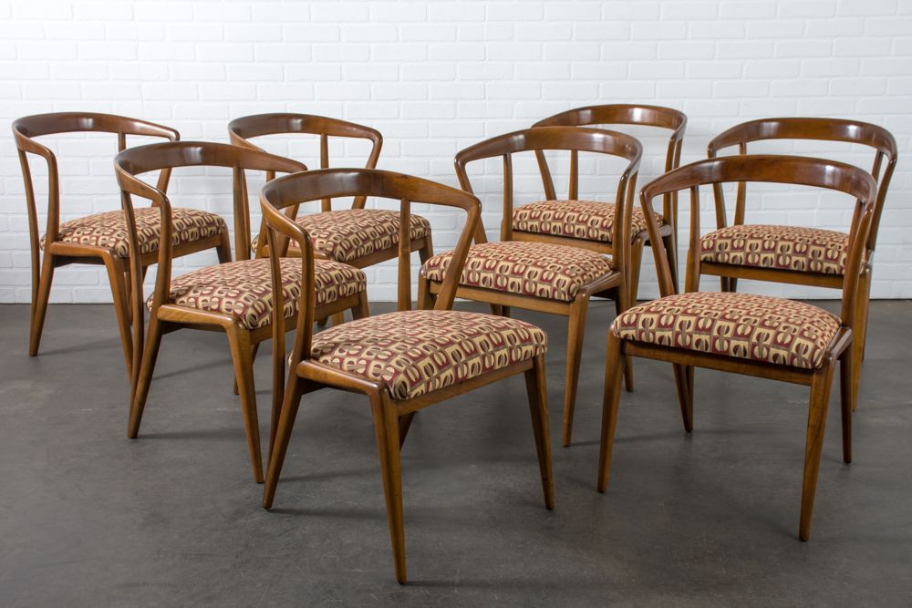 Mid Century Dining Chairs By Bertha Schaefer, Set Of 8