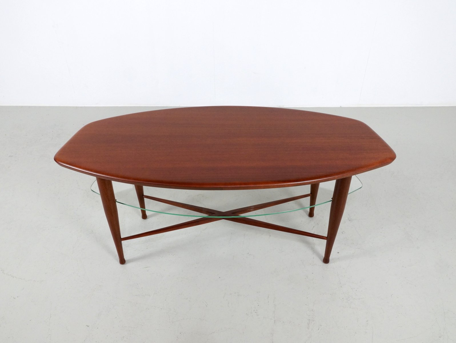 Vintage Teak Coffee Table With Glass Magazine Shelf For Sale At Pamono