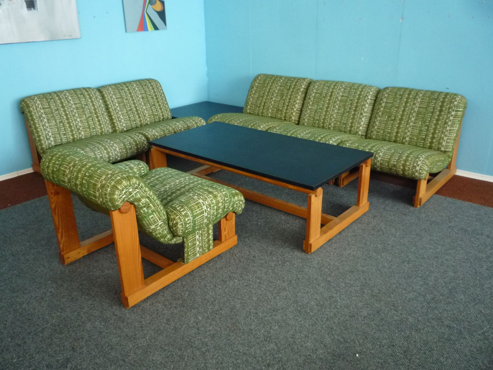 Vintage Spruce Living Room Suite with Coffee Tables 1970s for