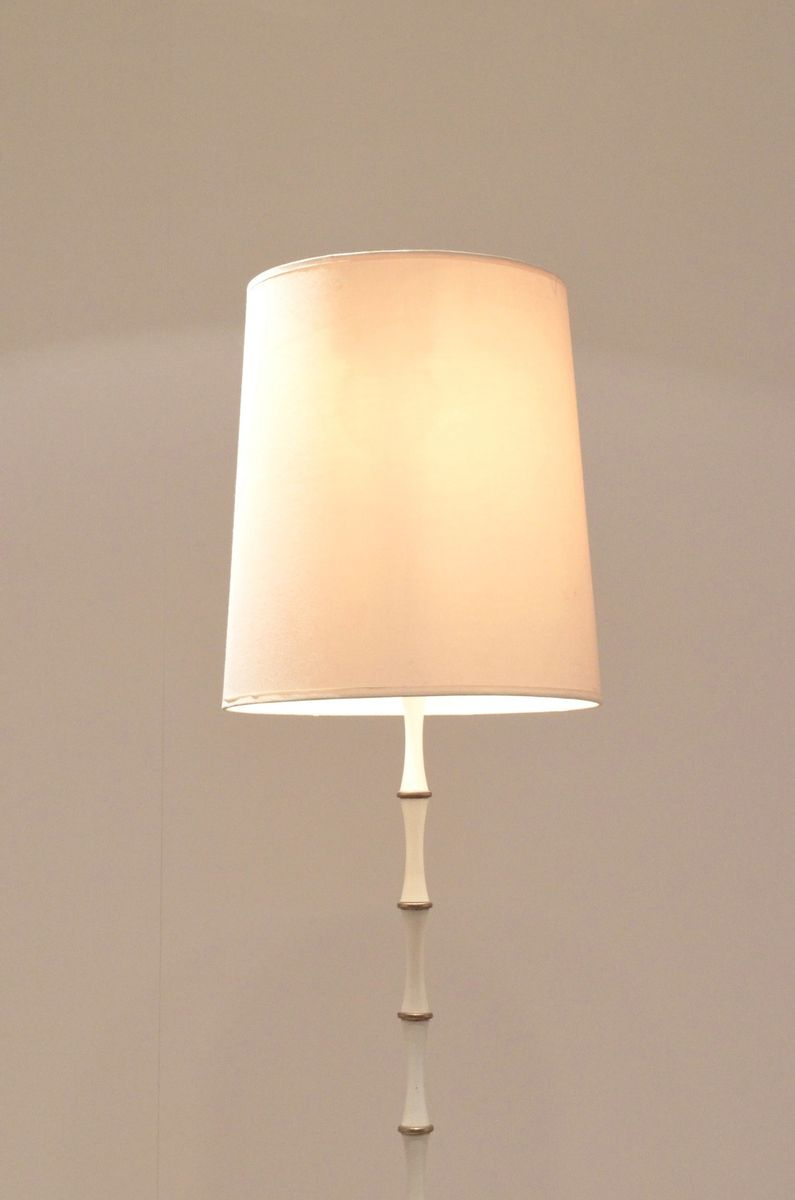 Mid century french bamboo patterned brass floor lamp for 1950s floor lamps