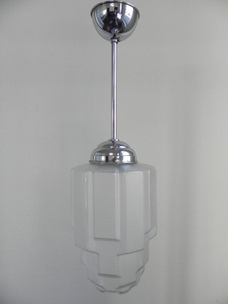 suspension art d co avec globe en verre givr 1930s en vente sur pamono. Black Bedroom Furniture Sets. Home Design Ideas
