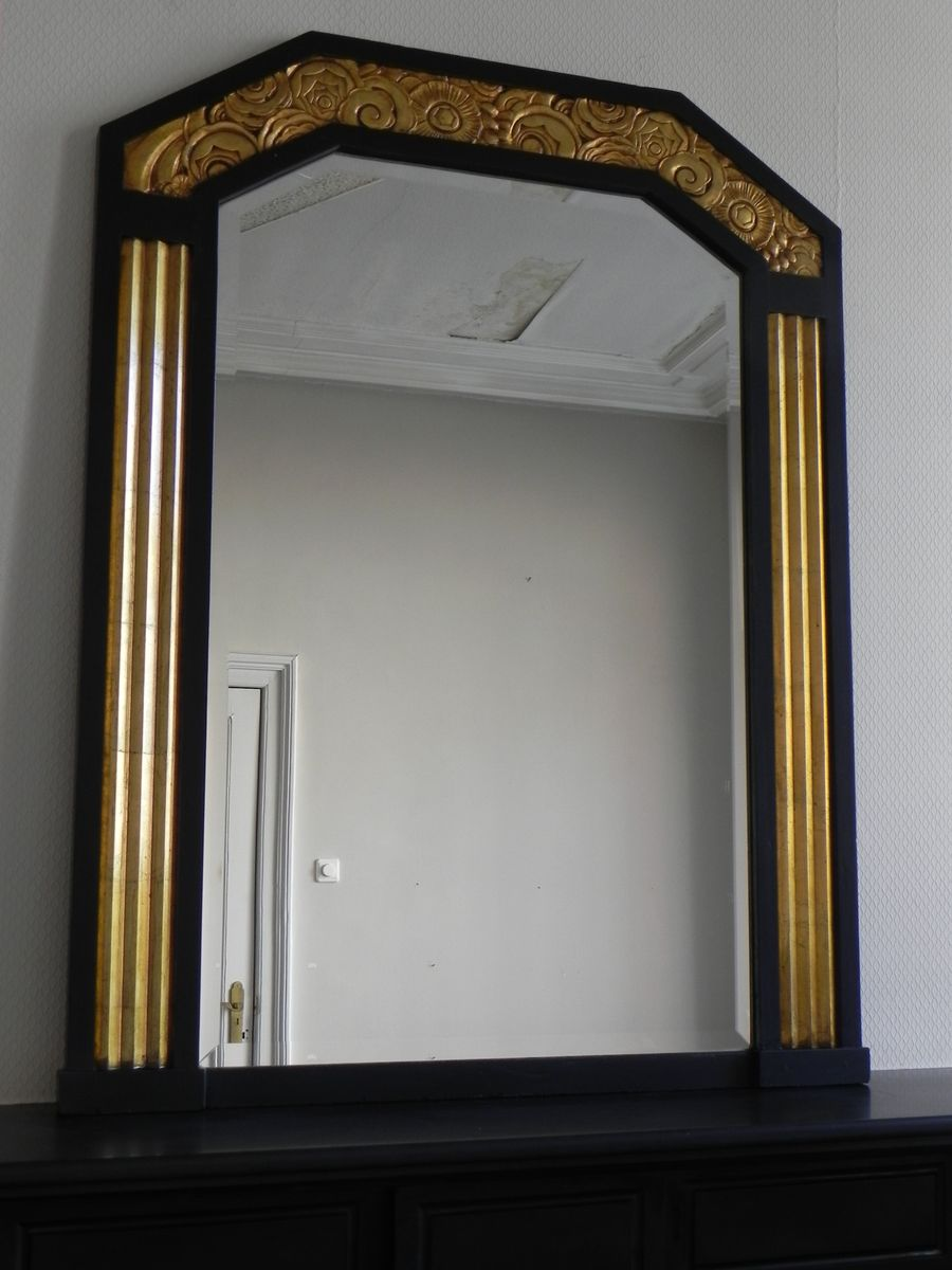 miroir art d co avec verre biseaut 1930s en vente sur pamono. Black Bedroom Furniture Sets. Home Design Ideas
