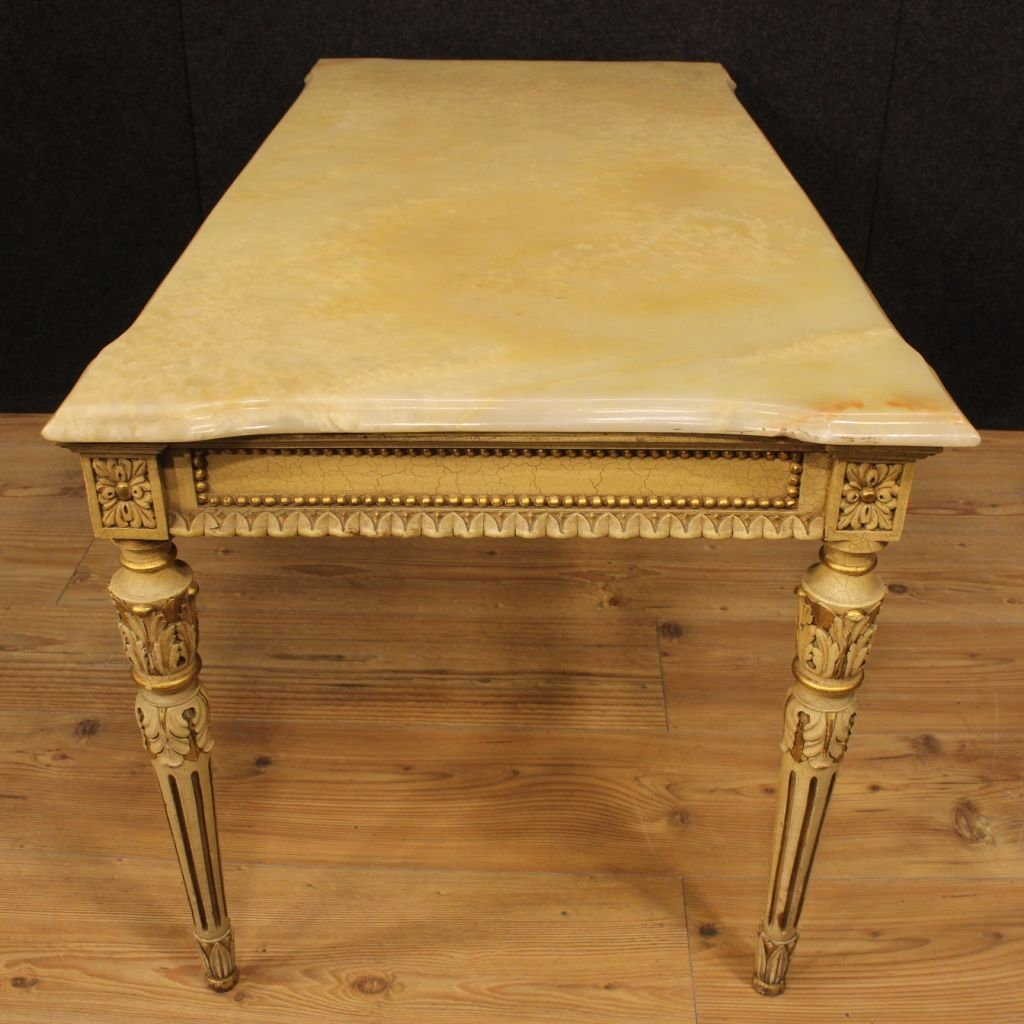 Charming Italian Lacquered And Gilded Coffee Table With Onyx Top