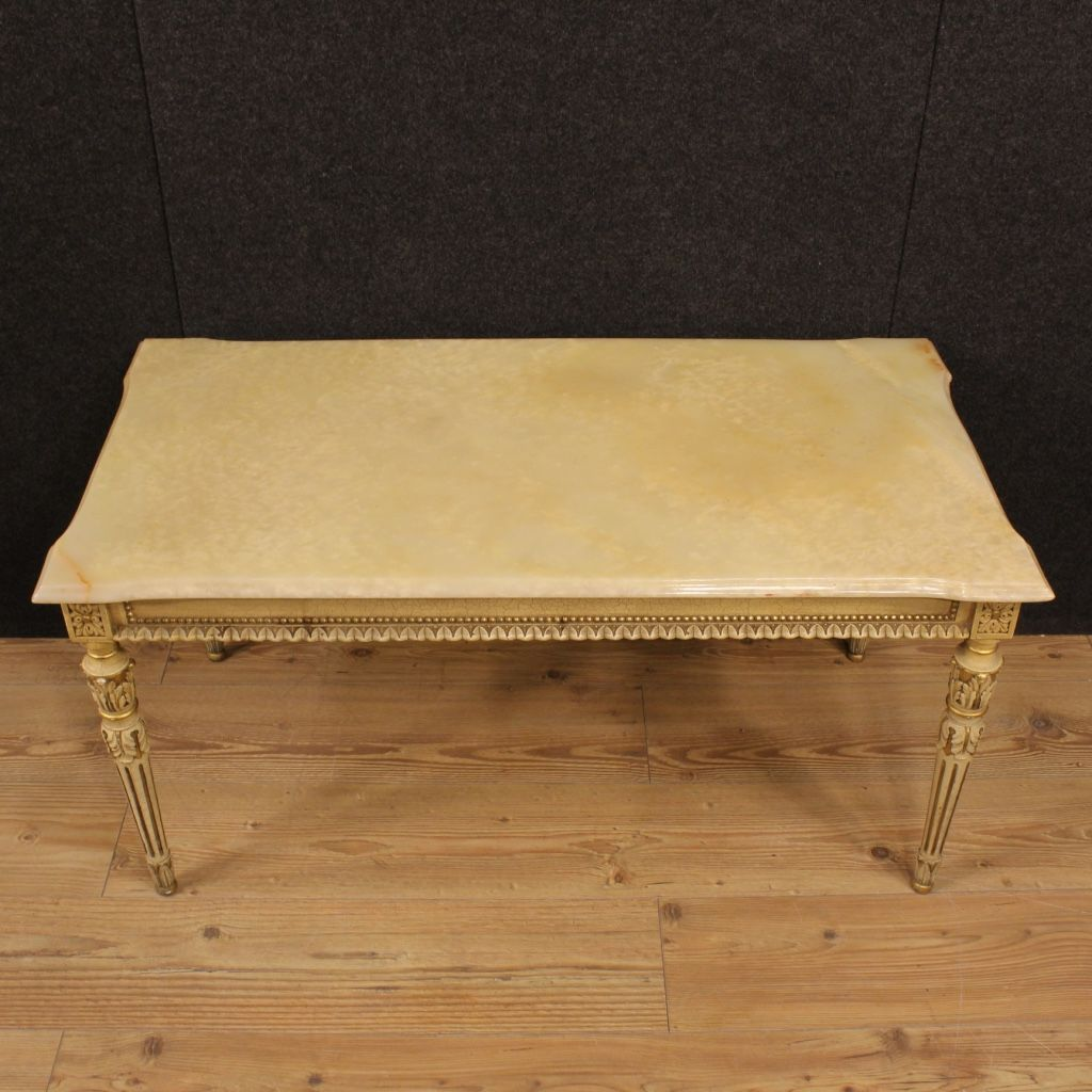 Great Italian Lacquered And Gilded Coffee Table With Onyx Top