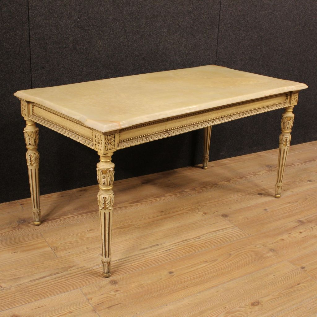 Italian Lacquered And Gilded Coffee Table With Onyx Top