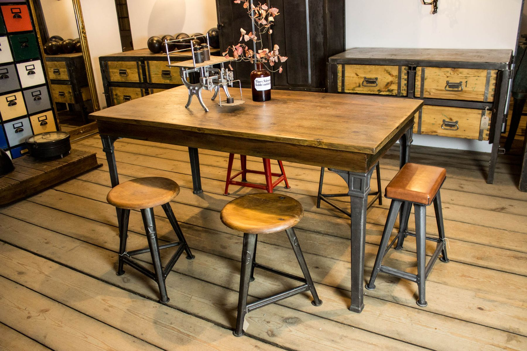 vintage dining table with cast iron legs for sale at pamono