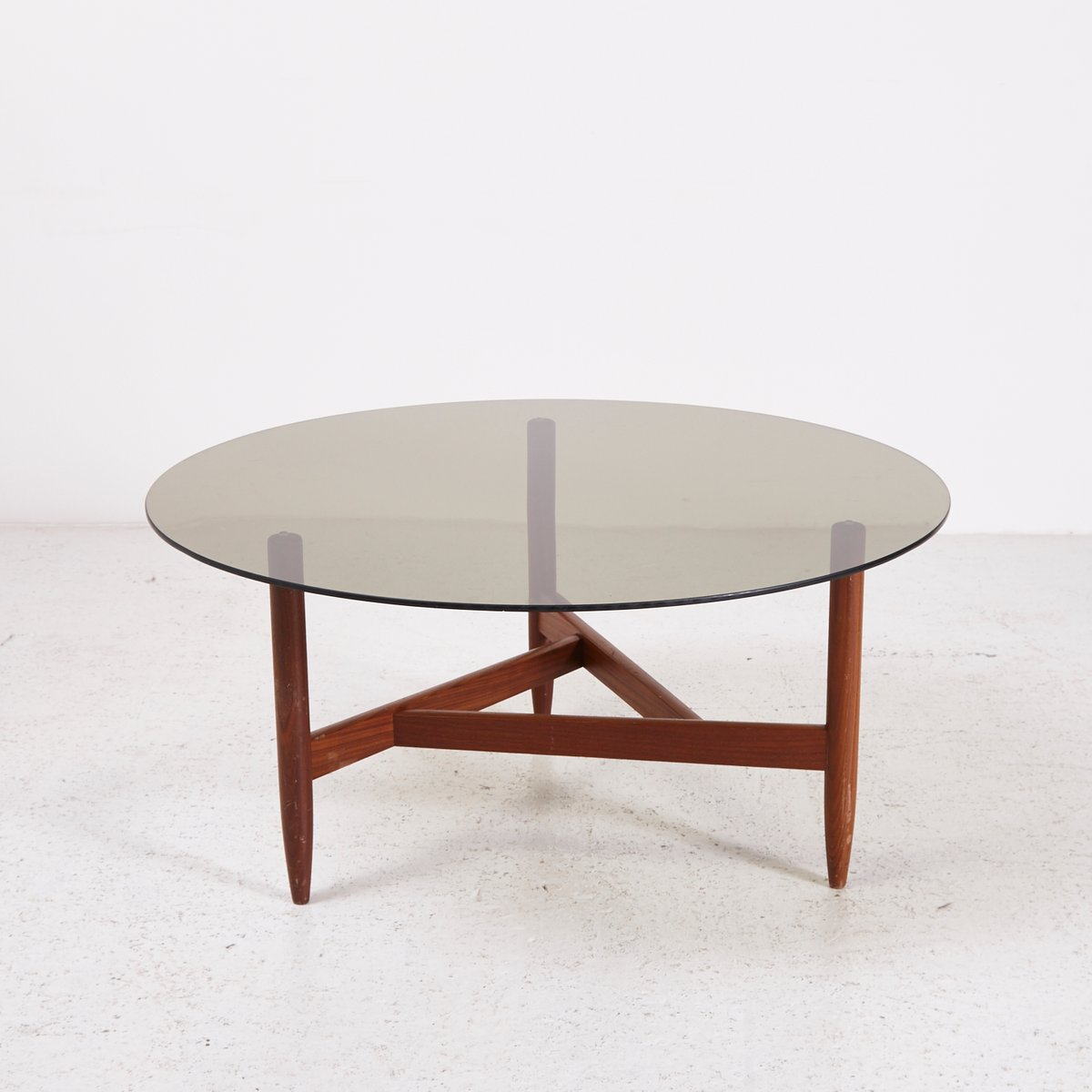 Teak Coffee Table With Smoked Glass Top