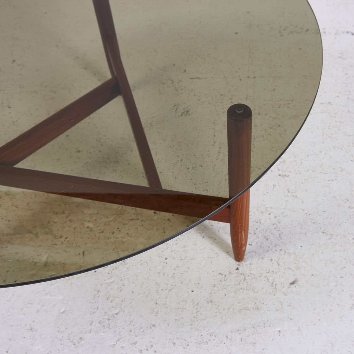 Teak Coffee Table with Smoked Glass Top for sale at Pamono