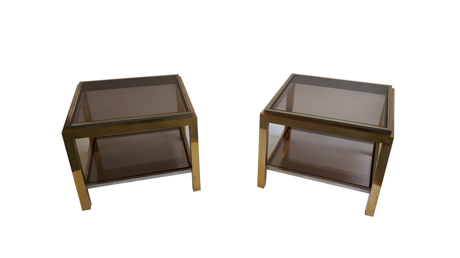 Brass and Smoked Glass Coffee Tables by Jean Charles Set of 2 for