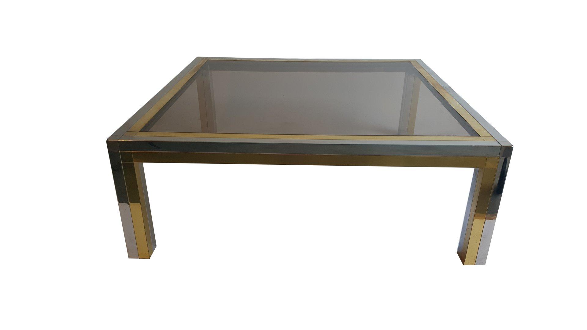 couchtisch aus chrom mit messinggestell bei pamono kaufen. Black Bedroom Furniture Sets. Home Design Ideas