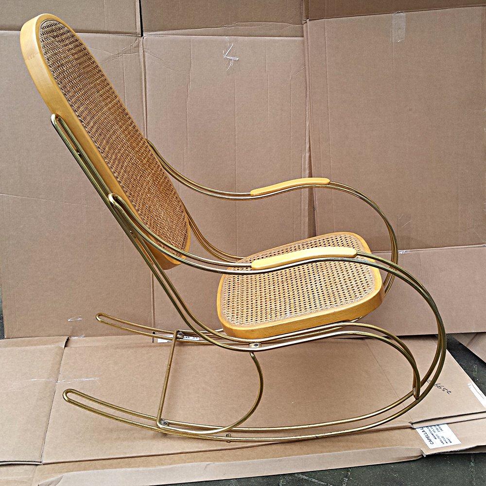 Vintage cane rocking chair - Vintage Brass Cane Rocking Chair