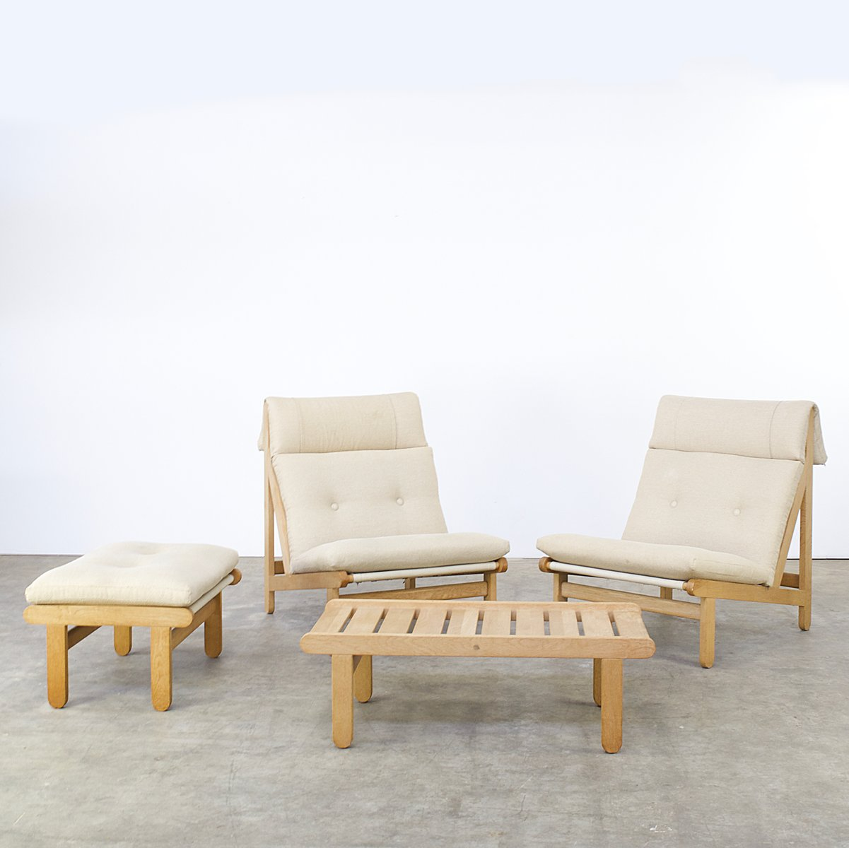 A Frame Easy Chairs, Ottoman U0026 Coffee Table By Bernt Petersen For Schiang,  1960s