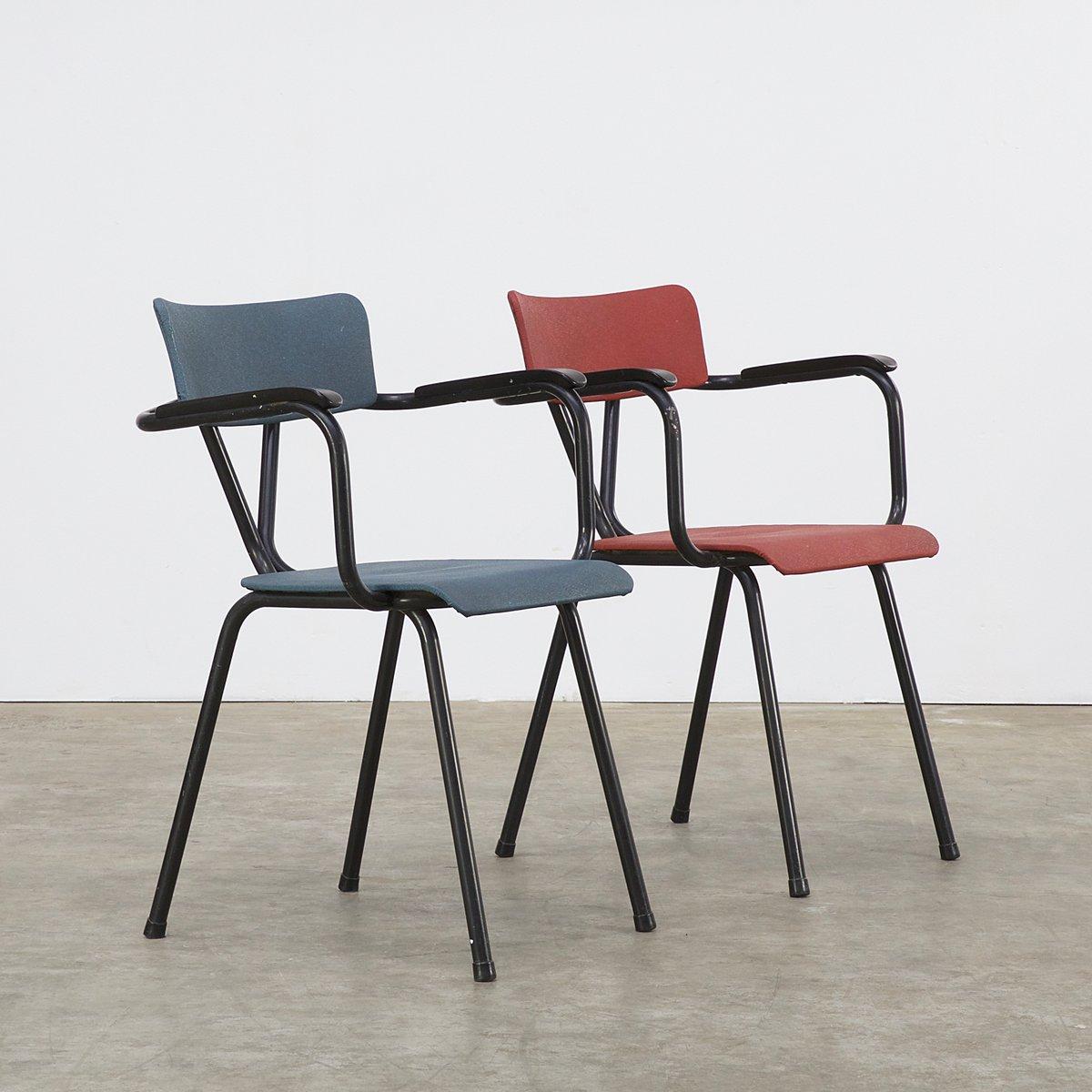 sedie da ufficio rosse e blu, anni '50, set di 2 in vendita su pamono - Sedie Da Ufficio Rosse