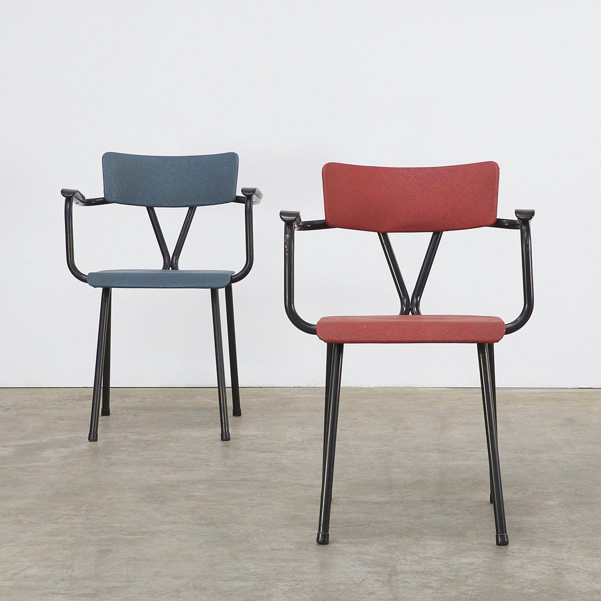 Sedie da ufficio rosse e blu anni 39 50 set di 2 in for Sedie da ufficio design