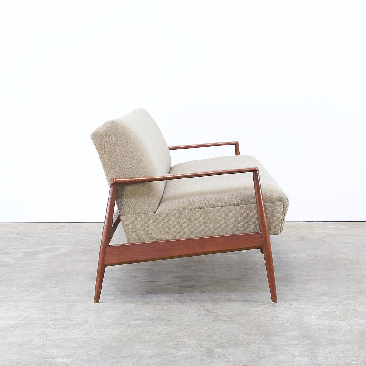 Mid Century Sofa In Teak And Fabric 1960s For Sale At Pamono