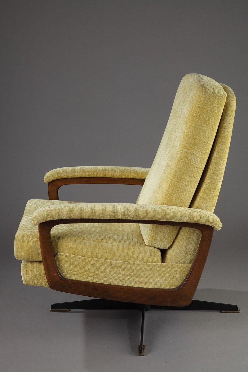 drehsessel aus holz und gelbem stoff 1960er bei pamono kaufen. Black Bedroom Furniture Sets. Home Design Ideas
