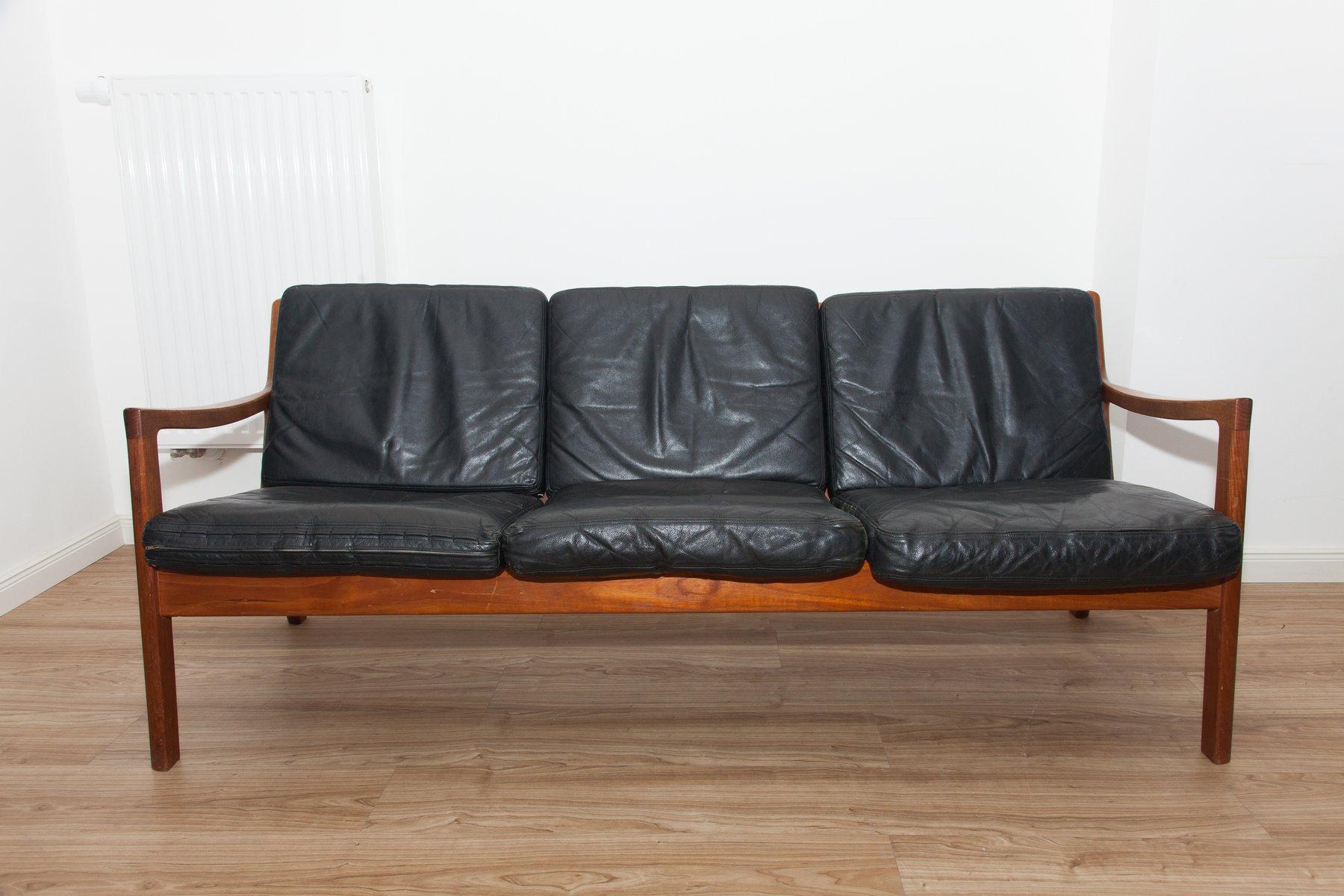 schwarzes 3 sitzer ledersofa aus teak sessel von ole. Black Bedroom Furniture Sets. Home Design Ideas