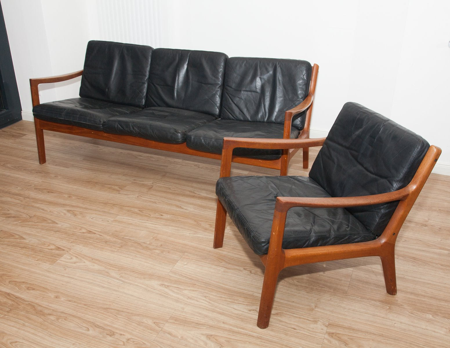 Black Leather & Teak 3 Seater Sofa & Armchair by Ole Wanscher for