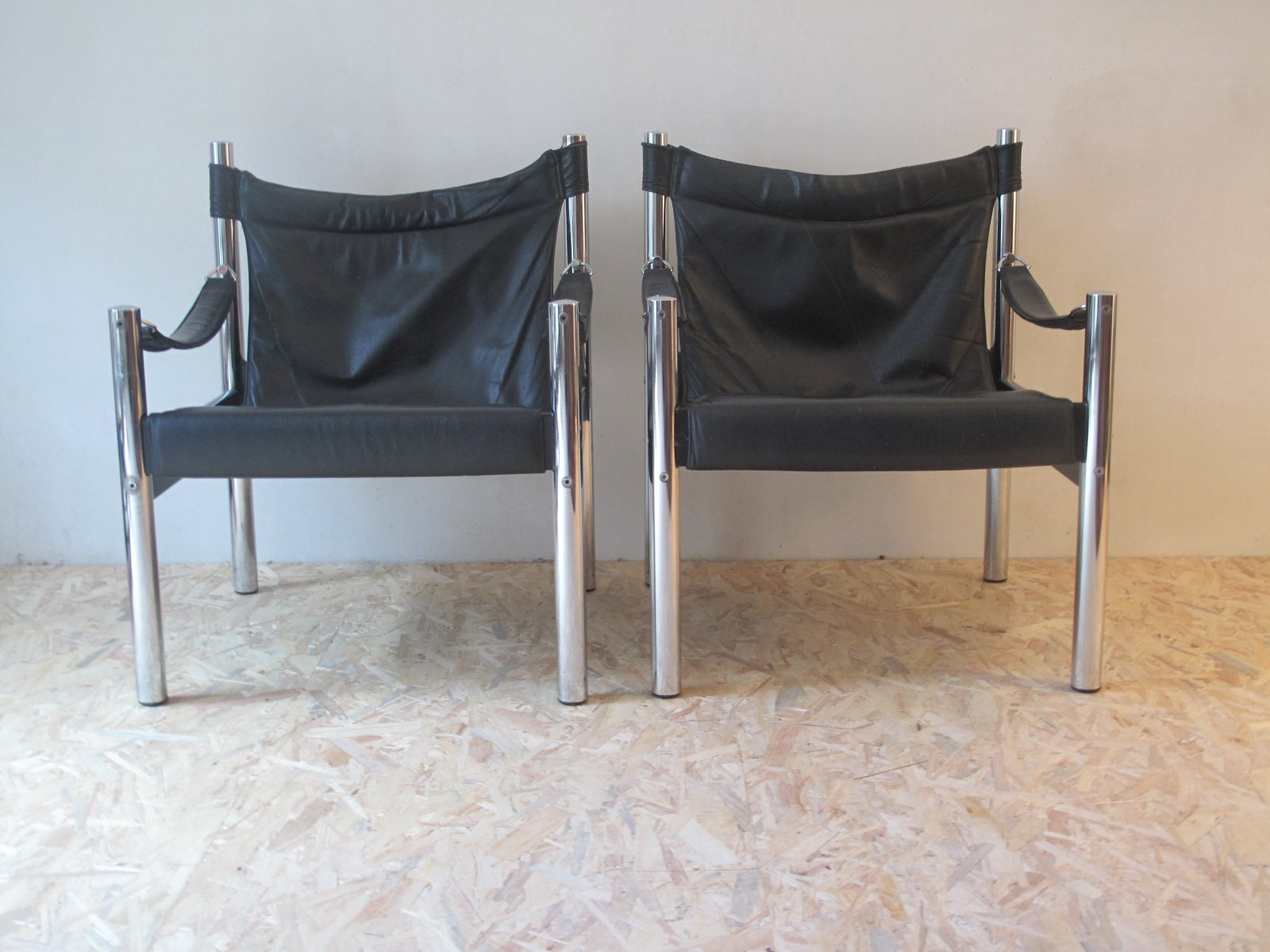 Danish Chrome and Leather Safari Chairs 1970s Set of 2 for sale