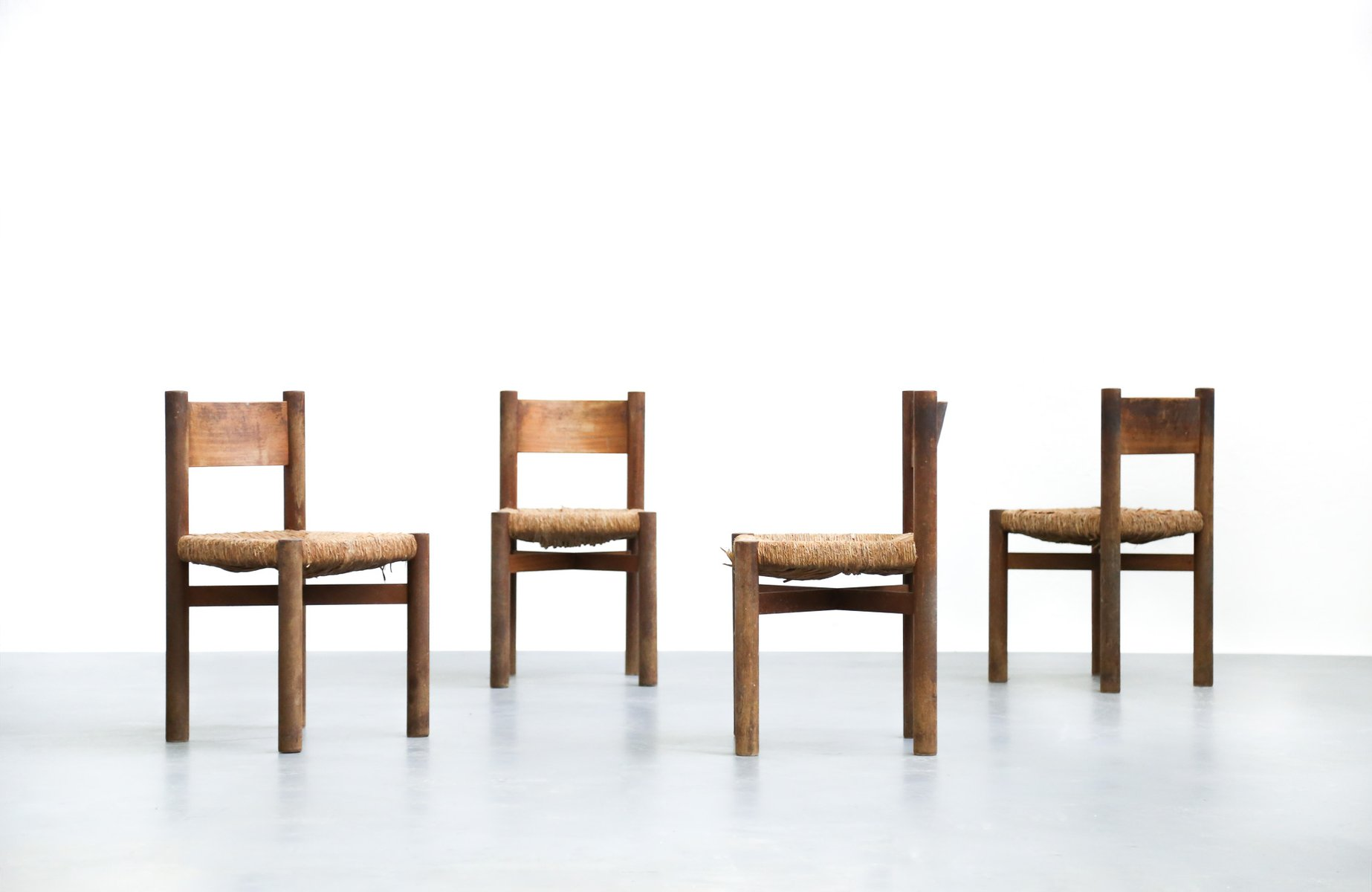 dining m ribel chairs by charlotte perriand set of 4 for sale at pamono. Black Bedroom Furniture Sets. Home Design Ideas