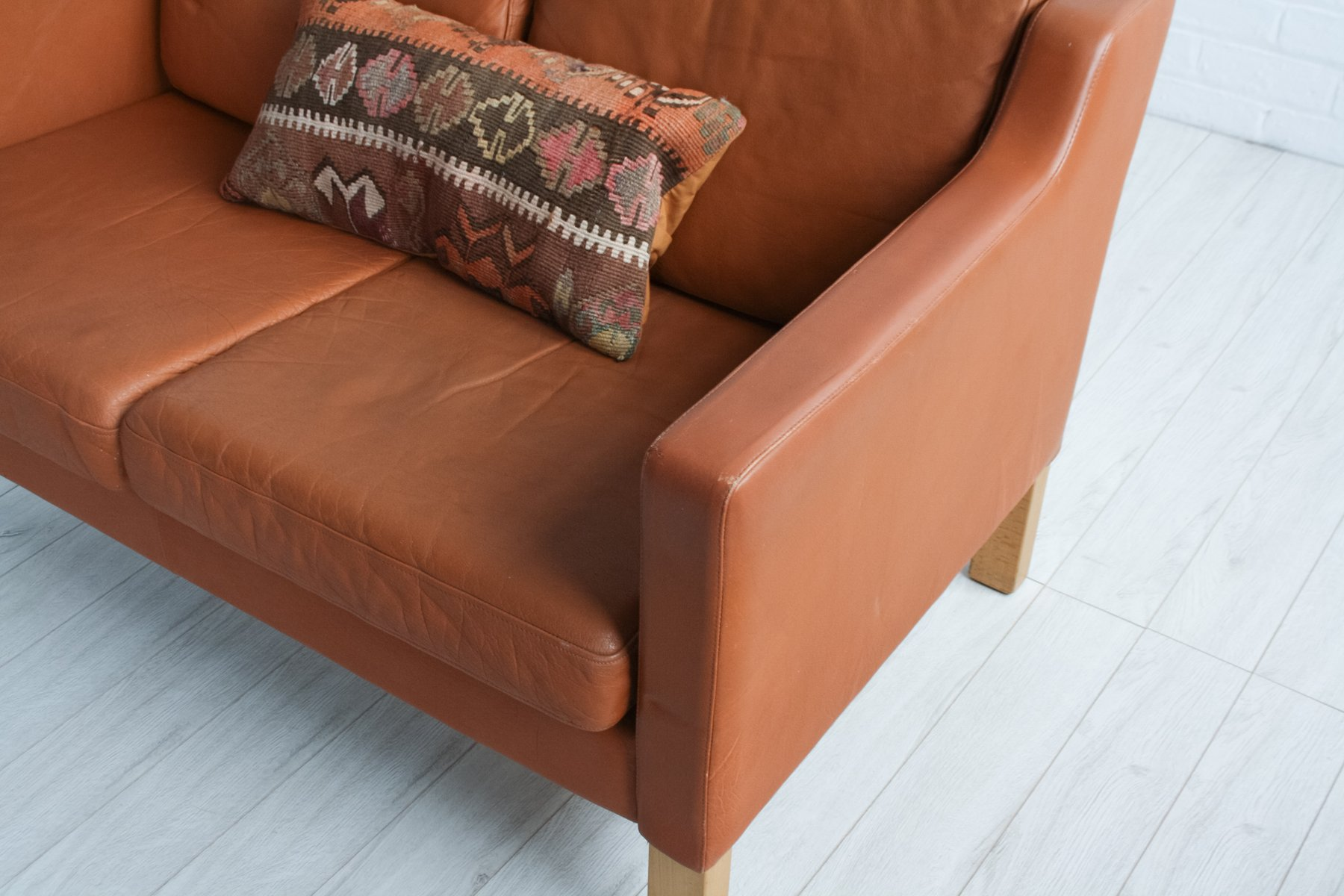 Mid Century Scandinavian Brown Leather Sofa 1970s For Sale A