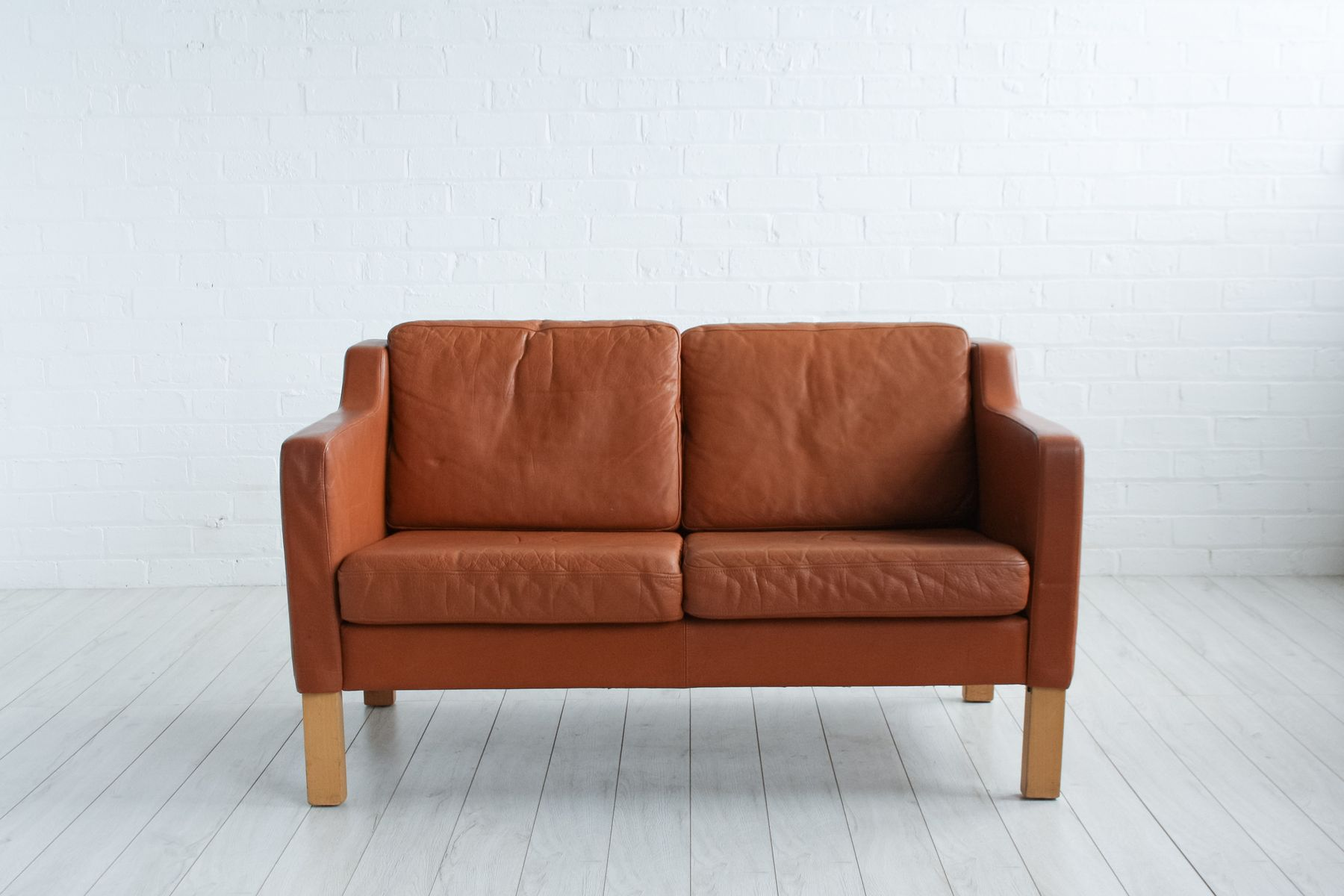 mid century brown leather sofa 1970s for sale a