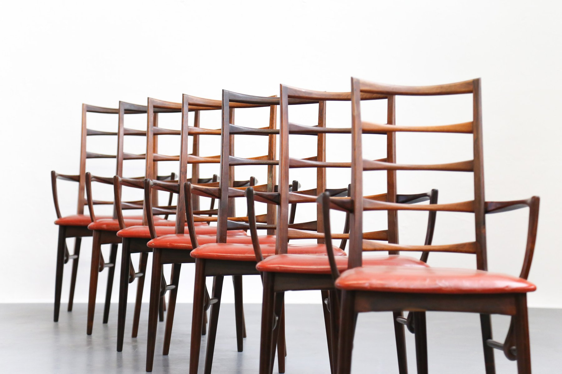 Vintage Danish Dining Chairs by Niels Koefoed Set of 7 for sale
