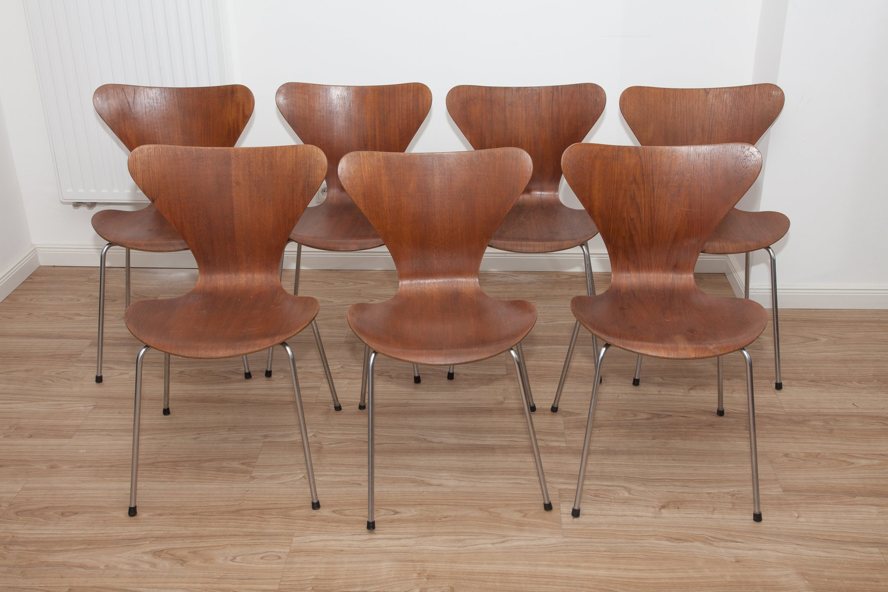 Model 3107 Teak & Plywood Ant Chairs by Arne Jacobsen for Fritz